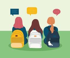 la vista posterior de una niña sentada con una mochila. ilustraciones de diseño de vectores de estilo dibujado a mano.