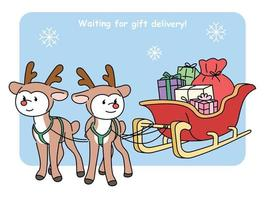 Cute reindeer character and santa's sleigh with gifts. Christmas card. hand drawn style vector design illustrations.
