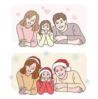 The mother, father, and daughter are showing happy expressions. hand drawn style vector design illustrations.