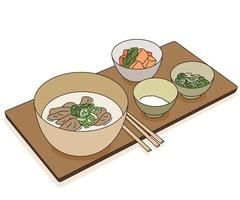 Korean meat soup food. hand drawn style vector design illustrations.