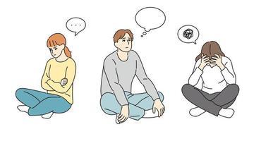 gente sentada en el suelo y en problemas. ilustraciones de diseño de vectores de estilo dibujado a mano.