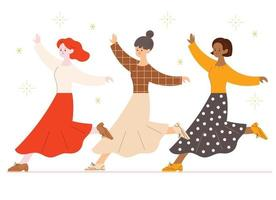 Three friends are dancing in skirts. hand drawn style vector design illustrations.
