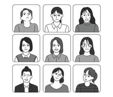 Woman face with various expressions. hand drawn style vector design illustrations.