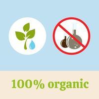 Producto 100% natural, ecológico, puro, herbal y orgánico. vector