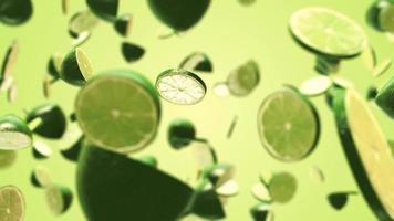 fatias de limão recém-cortadas voando