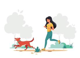 Woman jogging with dog. Outdoor activity. Vector illustration.