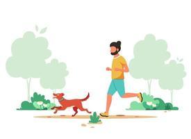 Man jogging in spring park with dog. Outdoor activity, dog walking. Vector illustration.