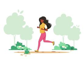 Black woman jogging in spring park. Healthy lifestyle, sport, outdoor activity concept. Vector illustration.