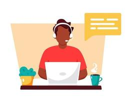 Black man with headphones working on computer. Customer service, assistant, support, call center concept. Vector illustration.