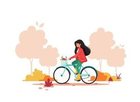 Woman riding bike in autumn park. Healthy lifestyle, sport, outdoor activity concept. Vector illustration.