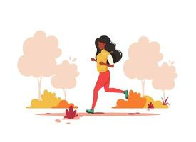 Black woman jogging in the autumn park. Healthy lifestyle, sport, outdoor activity concept. Vector illustration.
