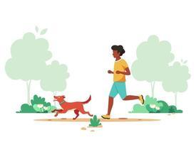 Black man jogging in spring park with dog. Outdoor activity, dog walking. Vector illustration.