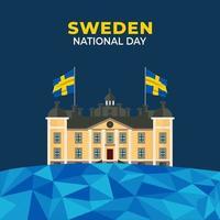 Flag of Sweden, June 6, National Day of Sweden, Kingdom of Sweden. vector illustration