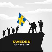 Sweden National Day. Celebrated annually on June 6 in Sweden. Happy national holiday of freedom. Swedish flag. Patriotic poster design. Vector illustration