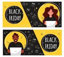 Black friday banner. People with laptop doing online shopping. Vector illustration