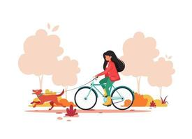 Woman riding bike with dog in autumn park. Healthy lifestyle,  outdoor activity concept. Vector illustration.
