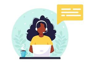 Black woman with headphones working on computer. Customer service, assistant, support, call center concept. Vector illustration.