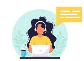 Woman with headphones working on computer. Customer service, assistant, support, call center concept. Vector illustration.