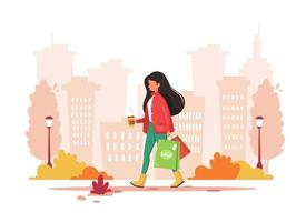 Woman shopping in the city with coffee. Urban lifestyle. Vector illustration.