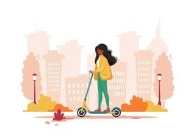 Black woman riding electric kick scooter in autumn. Eco transport concept. Vector illustration.