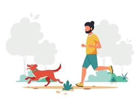 Man jogging with dog. Outdoor activity. Vector illustration.