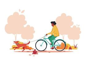 Black man riding bike with dog in autumn park. Healthy lifestyle,  outdoor activity concept. Vector illustration.