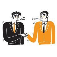 apretón de manos de dos empresarios vector