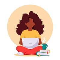 Black woman working on laptop. Freelance, remote working, online studying, work from home concept. Vector illustration