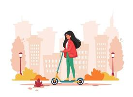 Woman riding electric kick scooter. Eco transport concept. Vector illustration