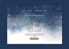 Elegant wedding landing page with hand painted watercolour design vector