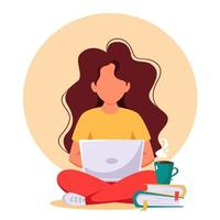 Woman working on laptop. Freelance, remote working, online studying, work from home. Vector illustration.