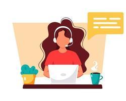 mujer con auriculares trabajando en equipo. servicio al cliente, asistente, soporte, concepto de centro de llamadas. ilustración vectorial. vector