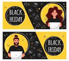 banner de viernes negro. personas que hacen compras en línea. ilustración vectorial en estilo plano. vector