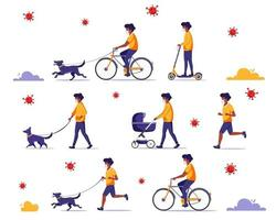 Black man doing outdoor activities during pandemic. Walking with dog, riding bicycle, jogging. Black man in face mask. Quarantine concept. vector