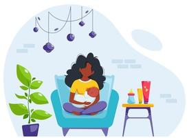 Breastfeeding concept. Black woman feeding a baby with breast, sitting on armchair. World breastfeeding day. Vector illustration