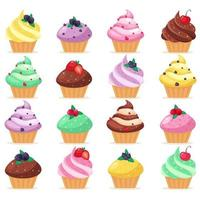 Big set of cupcakes. Sweet pastries decorated with cherry, raspberry, strawberry, blueberry. Vector illustration