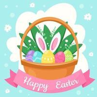 tarjeta de felicitación de pascua feliz. canasta con huevos de pascua. ilustración vectorial vector