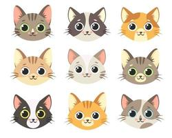 Cute cats collection. Cats faces. Vector illustration
