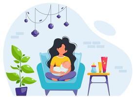 Breastfeeding concept. Woman feeding a baby with breast, sitting on armchair. World breastfeeding day. Vector illustration