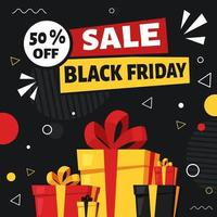 Black friday banner. Gifts and purchases. Vector illustration in flat style.