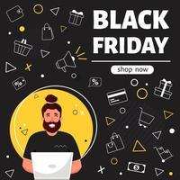 banner de viernes negro. hombre con laptop haciendo compras en línea. ilustración vectorial vector