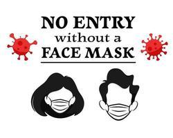 no se permite la entrada sin mascarilla. use mascarilla en la tienda. ilustración vectorial vector