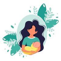 Breastfeeding concept. Woman feeding a baby with breast. World breastfeeding day. Vector illustration