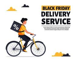 Black friday delivery service. Courier riding bike. Vector illustration