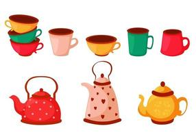 Set of colorful tea cups, coffee cups and kettles. Dishes set. Vector illustration