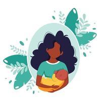 Breastfeeding concept. Black woman feeding a baby with breast. World breastfeeding day. Vector illustration