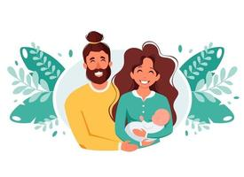 Happy family with newborn baby. International Day of families.  Vector illustration