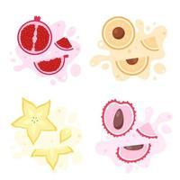Fruits splash. Exotic and tropical fruits carambola, litchi, longan, pomegranate. Vector illustration