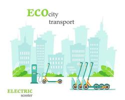 Eco city transport. Electric scooter at charging station. Electric scooter rental. Green environment concept. Vector illustration