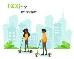 Eco city transport. Black man and black woman riding kick scooter. Vector illustration